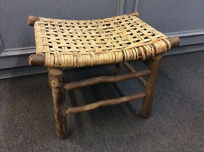 Vintage Rustic Old Hickory Foot Stool Ottoman Bench Wood Woven Primative