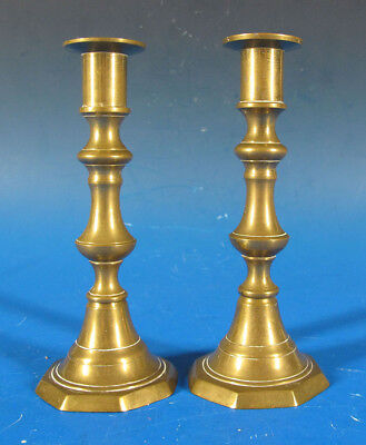 Antique Pair Early 19th C Solid Brass Push Up Octagonal Candlesticks #2 yqz