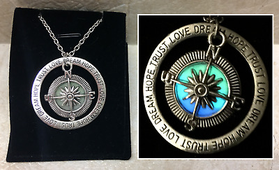 DISCOUNT - COMPASS GLOW IN THE DARK Love Dream Hope Trust Ring Charm Necklace