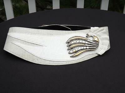 Vtg. Sharon Burch Dallas Ivory Leather Rhinestone Pheasant Touch Fastener Belt