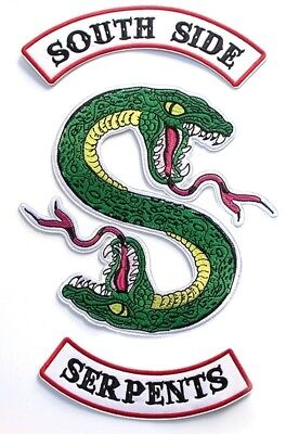 """Riverdale TV Series South Side Serpents 3 Piece Iron On 14"""" Jacket Patch Set"""