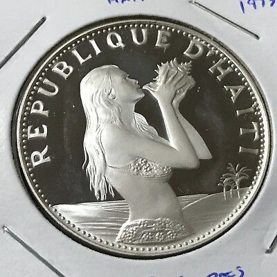 Haiti 1973 Silver Proof 50 Gourdes Woman With Conch Shell Scarce Crown Coin
