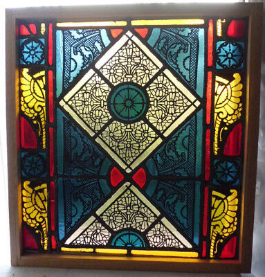 Antique Church Stained Glass Window Architectural Salvage Colorful Victorian W4