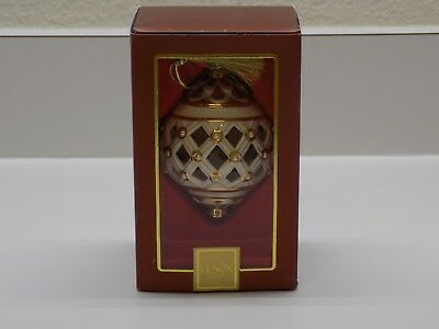Lenox Florentine Ball Ornament Ivory Pearl and Gold Design