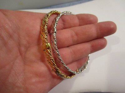 Two AVON 1971 Vintage Classic twist Bangles silver and gold tone  DEC45
