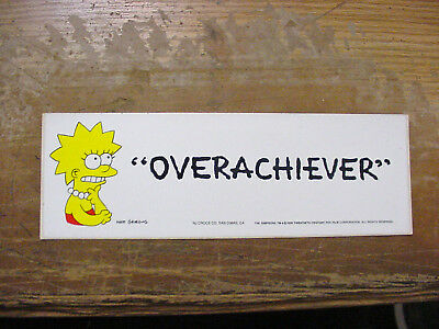 """Vintage Lot Of 4 Simpsons  Bumper Sticker """"overachiever"""" 1990 Licensed"""
