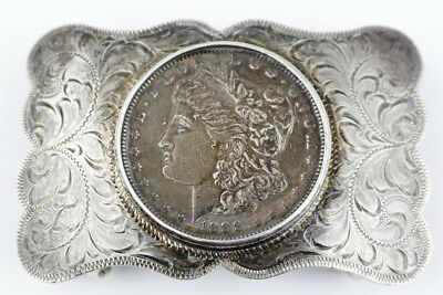Handsome Sterling Silver Overlay Belt Buckle w/ 1888 Morgan Dollar
