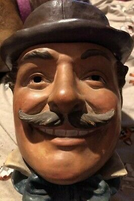 FIGURAL TOBACCO JAR, Man With Mustache