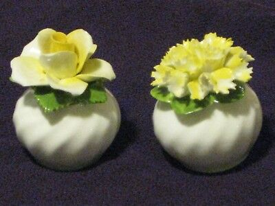 Ansley Yellow Flower Salt and Pepper Shakers  ENGLAND PAT 439062  Vintage