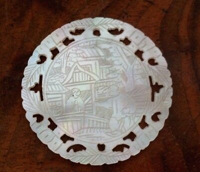 Antique Chinese mother of pearl Gaming gambling counter token Round Pierced work