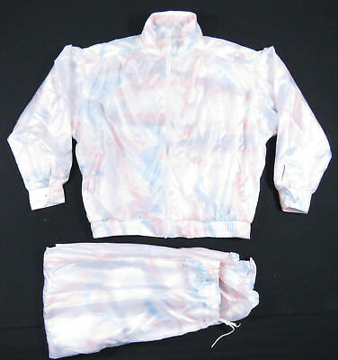 80S Adidas Trefoil Abstract White Track Suit Tie Tye Iridescent Nu Wave Vintage
