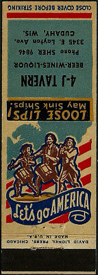 4-J TAVERN patriotic WWII era matchbook cover from CUDAHY, WI wisconsin