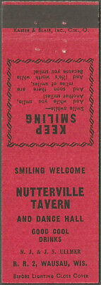 early ~ NUTTERVILLE TAVERN ~ matchbook cover from WAUSAU, WI wisconsin