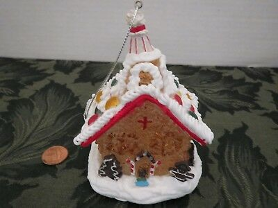 Vintage Light up Gingerbread House Church Christmas Tree Ornament