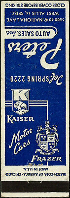 early KAISER and FRAZER car dealer from WEST ALLIS wisconsin WI matchbook cover