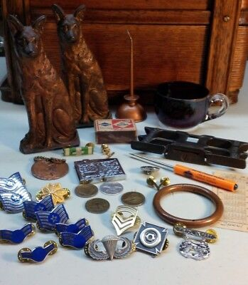 Junk drawer lot, antiques, Bookends, Oil Can, Coins, Tools, Indian KeyChain.....