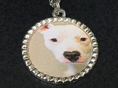 "Dog Pit Bull White Charm Tibetan Silver with 18"" Necklace D"