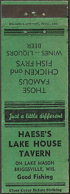 early ~ HAESE'S LAKE HOUSE TAVERN ~ matchbook cover BRIGGSVILLE, WI wisconsin