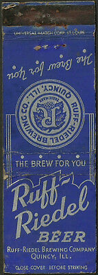 RARE early RUFF-REIDEL BEER matchbook cover from QUINCY, IL illinois