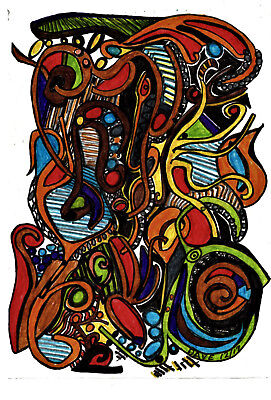 Small Wall ART Original Drawing 'AbStract Jac'  d l russell  pen on paper