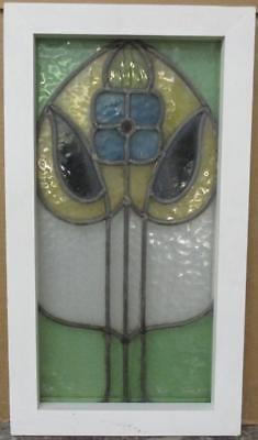 """MID SIZED OLD ENGLISH LEADED STAINED GLASS WINDOW Stunning Floral 13"""" x 23.25"""""""