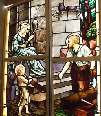 Lg Antique Vtg Church Stained Glass Window Architectural Salvage Virgin Mary WS