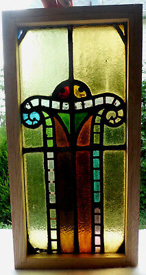 Antique Vtg Church Stained Glass Window Architectural Salvage Art Deco Arch W103