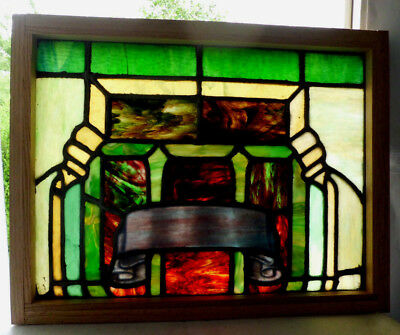 Antique Vtg Church Stained Glass Window Architectural Salvage Gothic Banner W108