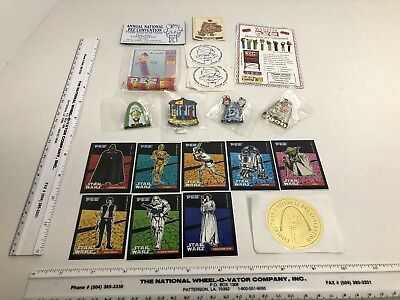 4 New PEZ Convention Pins 8 PEZ 1997 Star Wars Stickers and More!