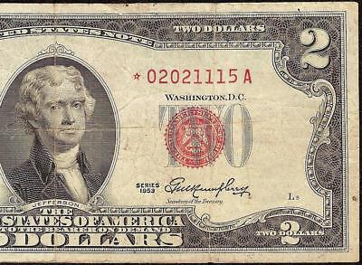 Star 1953 $2 Two Dollar 02021115 United States Legal Tender Red Seal Note Money