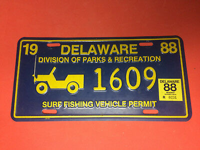 1988 Delaware Surf Fishing Vehicle Permit License Plate 88 Resident Sticker