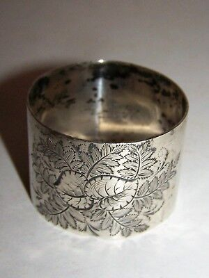Antique Sterling Silver Napkin Ring Holder Leaves Monogramed E L G