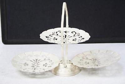 Vintage 3 Tier Metal Folding Serving Tray Decorative Shabby Chic Cake Stand