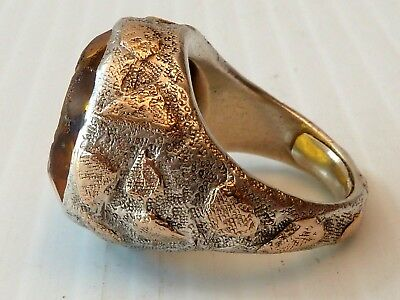 Rustic Aesthetic Sterling Ring W/14K Gold Onlays & Intaglio Homeric Head Setting