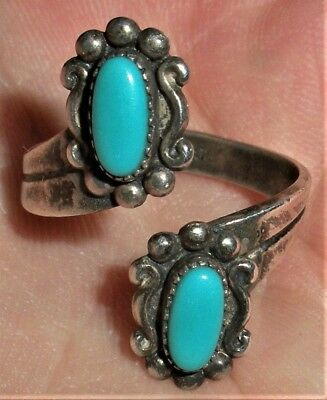 VINTAGE 1930-40s NAVAJO STERLING SILVER DOUBLE TURQUOISE RING vafo