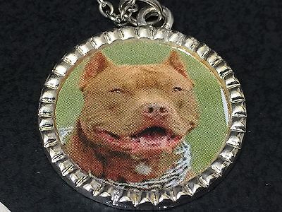 "Dog Pit Bull Brown Charm Tibetan Silver with 18"" Necklace A"