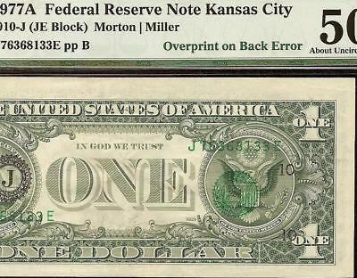 1977 A $1 Dollar Bill Overprint On Back Error Note Currency Paper Money Pmg 50