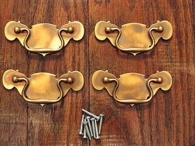 """4 Solid Brass Drop Bail Style Drawer Pulls Handles 3"""" Center To Center NOS"""