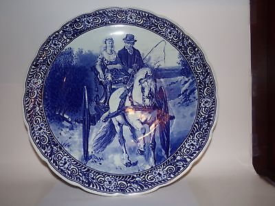 LARGE DELFT PLATE-ROYAL SPHINX-15.5 in-BLUE & WHITE-HORSE & CARRIAGE-HOLLAND-NR