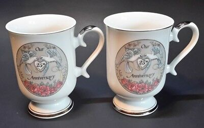 Our 25th Anniversary Cups With Doves/Lovebirds Porcelaine Fine Norcrest