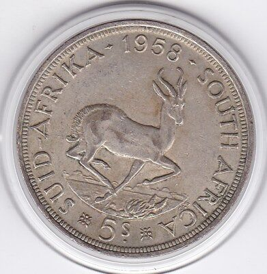 Sharp  1958  South  Africa   Large Crown / Five Shilling Silver  Coin