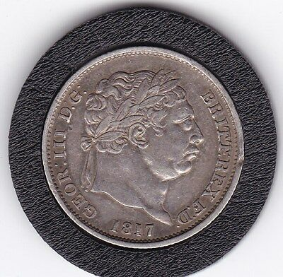1817  Very  Sharp  King  George  III  Sterling  Silver  Shilling  British Coin