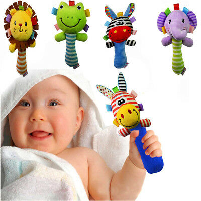 Boys Girls Newborn Baby Soft Sound Animal Plush Handbells Squeeze Rattle Toy NS