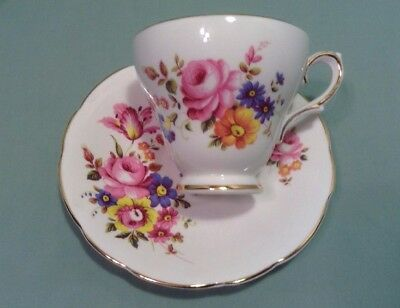 Floral Tea Cup And Saucer Staffordshire England Sutherland Porcelain Roses