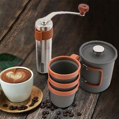Hot French Press Coffee Maker Hand Manual Coffee Bean Grinder Mill Pot Set he