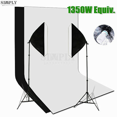 Photography Studio Softbox Continuous Lighting Light Stand 2 Muslin Backdrop Kit