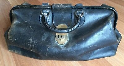Old Vtg Antique 1934 Leather Brass Latch Doctor Bag Original Handbag Medical
