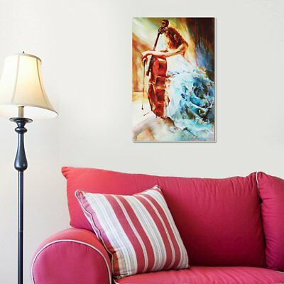 Modern Violin Girl Canvas Print Unframed Oil Painting Pictures Art Home Decor/H