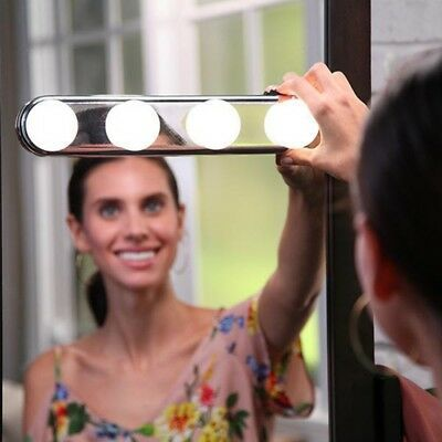 4 LED Bulbs Battery Powered Studio Glow Vanity Make Up Light Super Bright TRP