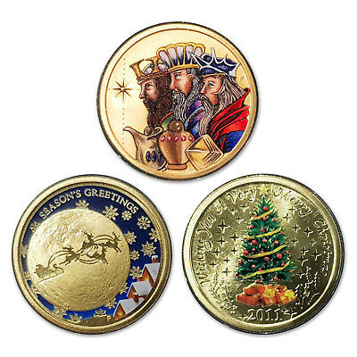 Christmas Season's Greetings 3 Different $1 One Dollar UNC Coins PM (lot 7)